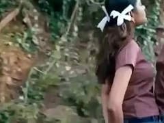 Schoolgirl Pressing her tight Boobs up a mendicant on Bike