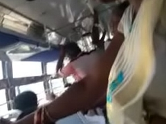 Girl showing her navel in bus part 1