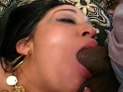 Hot indian sucks dick deep face hole cock