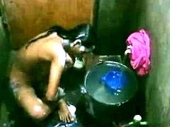 Bangladeshi Indian Young Girl Taking Shower