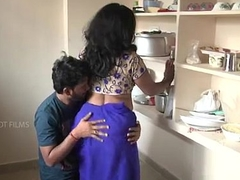 Indian mother with the addition of son romance in kitchen