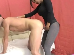 Hot Indian Sex Psychiatrist Fucks Chap with Strapon and Titty Fucks him