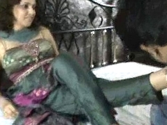 Indian bitch in churidar foot worship
